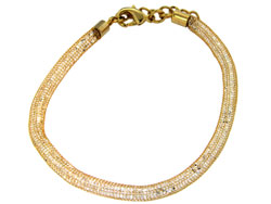 Lily Helena Glistening Ice Crystal Mesh Small Round Bracelet, Goldtone, Clear