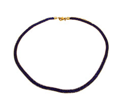 Lily Helena Glistening Ice Crystal Mesh Small Round Necklace, Goldtone, Blue