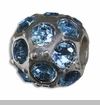 March Silver Ball with Aquamarine Color Crystals European Bead Charm