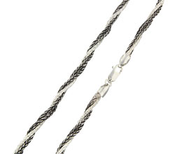 Matthew Gerard Three Stand, One Silver, Two Black, Italian Sterling Silver Necklace