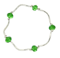 Prism Pals  Medium Green Color Crystal Stretch Bracelet