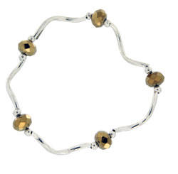 Prism Pals Metallic Gold Color Crystal Stretch Bracelet