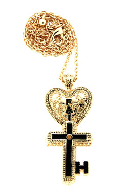 Inspired By Him My Key Of Faith Necklace, Gold-tone