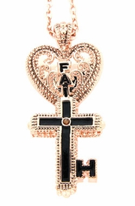 Inspired By Him My Key Of Faith Necklace, Rose Gold-tone