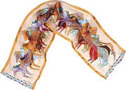 Native Horses Ivory Silk Scarf with Sequins by Laurel Burch