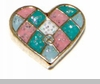 Patchwork Heart Floating Locket Charm
