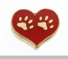 Paw Prints in Red Heart Floating Locket Charm