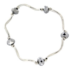 Prism Pals Pewter Color Crystal Stretch Bracelet