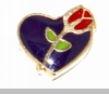Purple Heart with Red Rose Floating Locket Charm