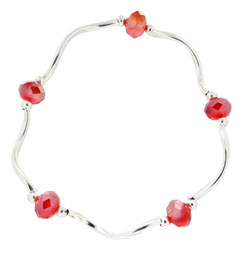 Prism Pals Red Aurora Borealis Color Crystal Stretch Bracelet