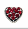 Red Crystal Heart Floating Locket Charm