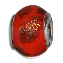Red & Gold Lampwork Murano Glass European Bead Charm, Pandora Bead and Bracelet Compatible