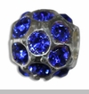 September Silver Ball with Sapphire Color Crystals European Bead Charm