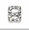 Silver Eight with Crystals Floating Locket Charm