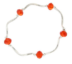Prism Pals Tangerine Red Color Crystal Stretch Bracelet