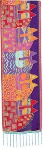 Wild Cats Silk Scarf by Laurel Burch