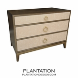 Adams 3-Drawer Side Table, Stained w/Fabric Fronts