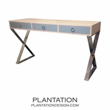 Alexander Console Table, Stained w/Painted Drawers