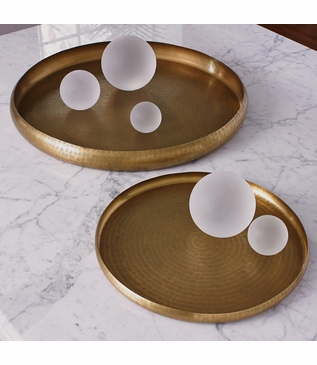 Anika Round Metal Trays | Brass