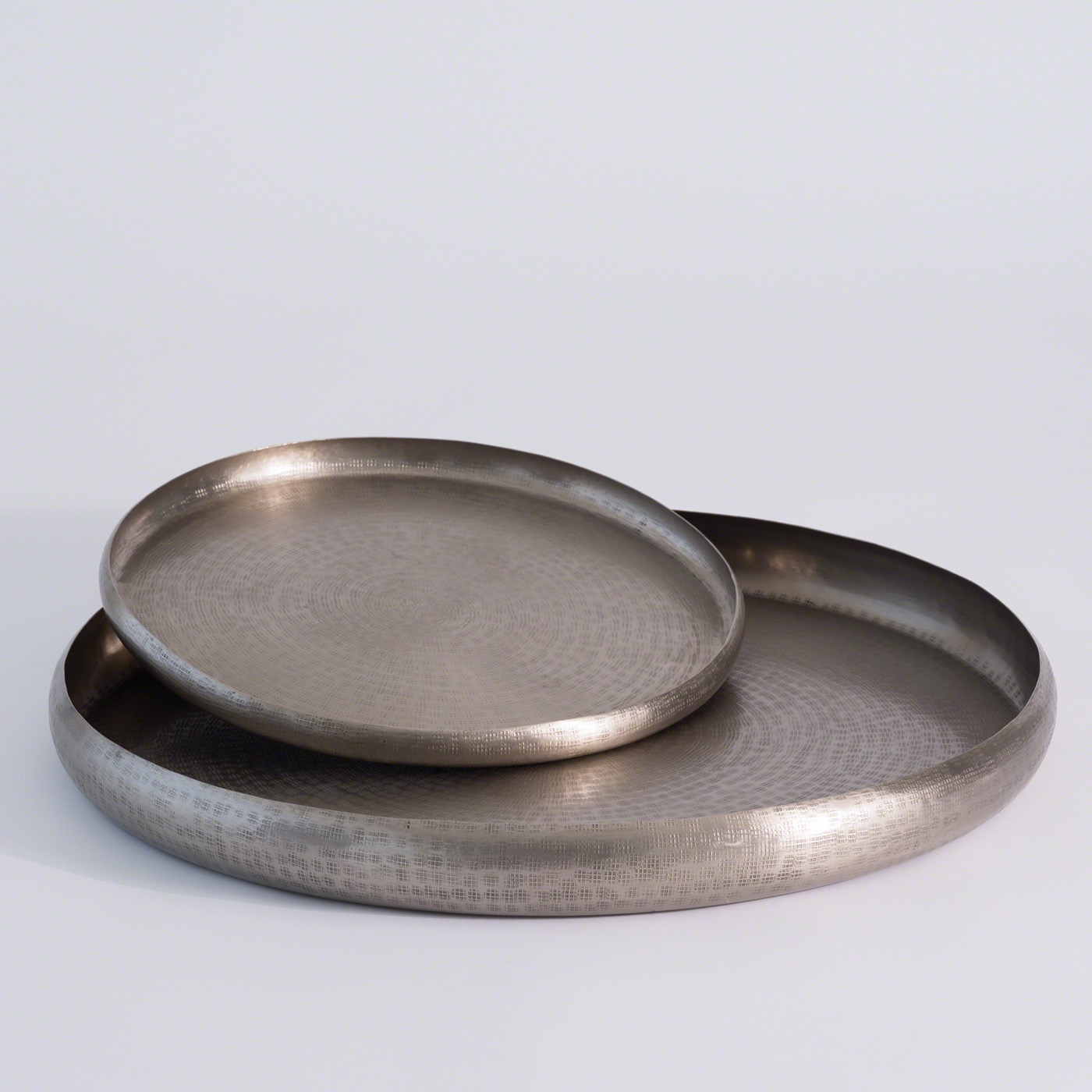 Anika Round Metal Trays Nickel Plantation Design