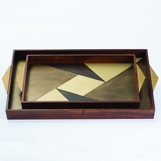 Avecko Wood & Brass Inlaid Trays