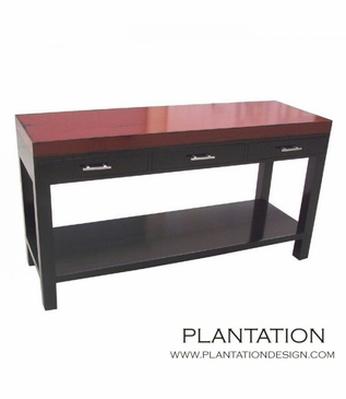 Bainbridge 3-Drawer Console Table, Painted w/Stained Legs