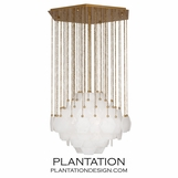 Brussels Glass Chandelier | Antique Brass
