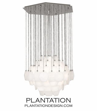 Brussels Glass Chandelier | Polished Nickel