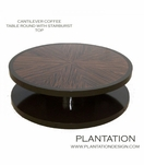 Cantilever Round Coffee Table, Stained