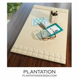 Carey Leather Desk Blotter | Ivory