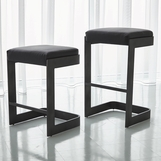 Carter Leather Bar Stools | Grey Steel