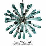 Cyrus Glass Chandelier | Teal