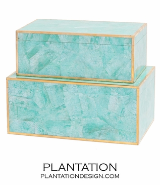 Foster Shell Boxes Set   Turquoise MOP
