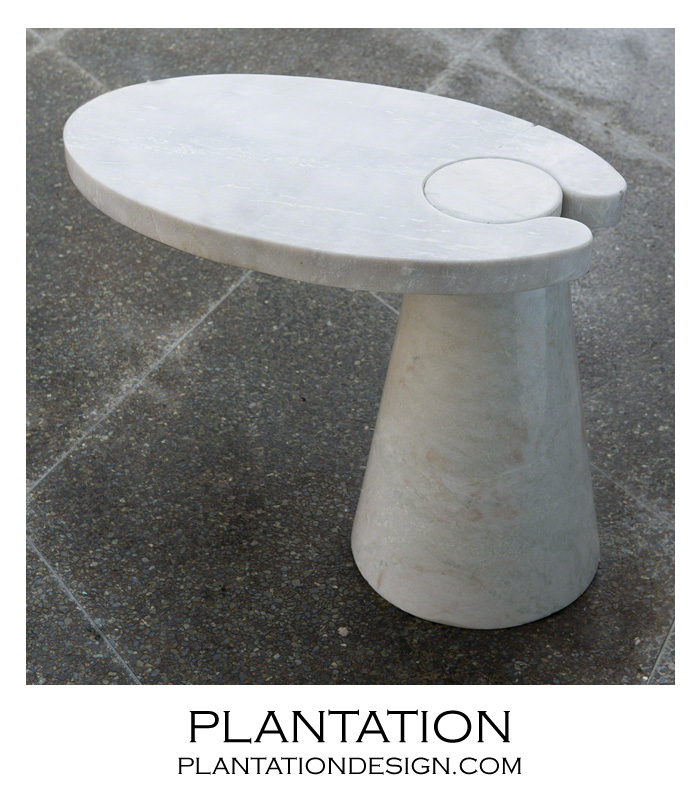 Exceptional Hover Stone Side Table | White Marble