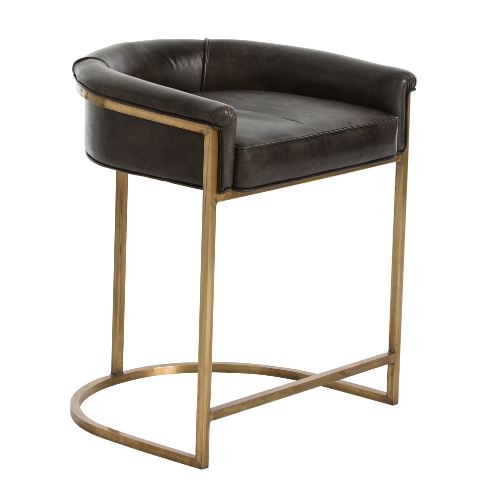 Brown Leather Counter Height Stools Orville Counter