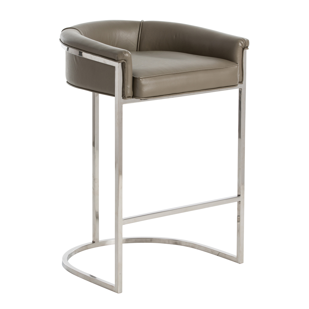Klein Leather Bar Stool Grey Plantation