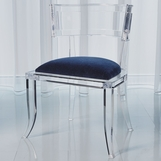 Klismos Lucite Side Chair | Blue