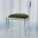 Klismos Lucite Side Chair | Green