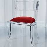 Klismos Lucite Side Chair | Red
