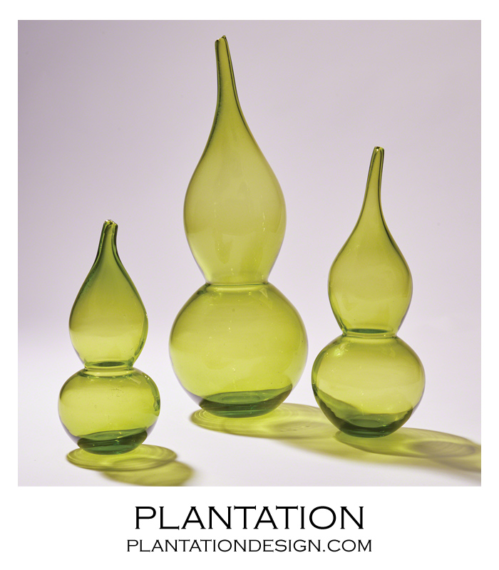 Lombard Gourd Vases Green Plantation