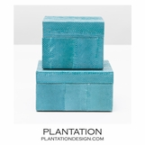 Manoa Snakeskin Boxes Set | Teal