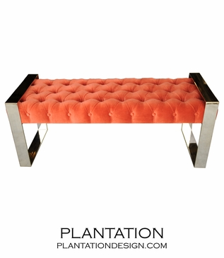 Matador Tufted Bench, Nickel