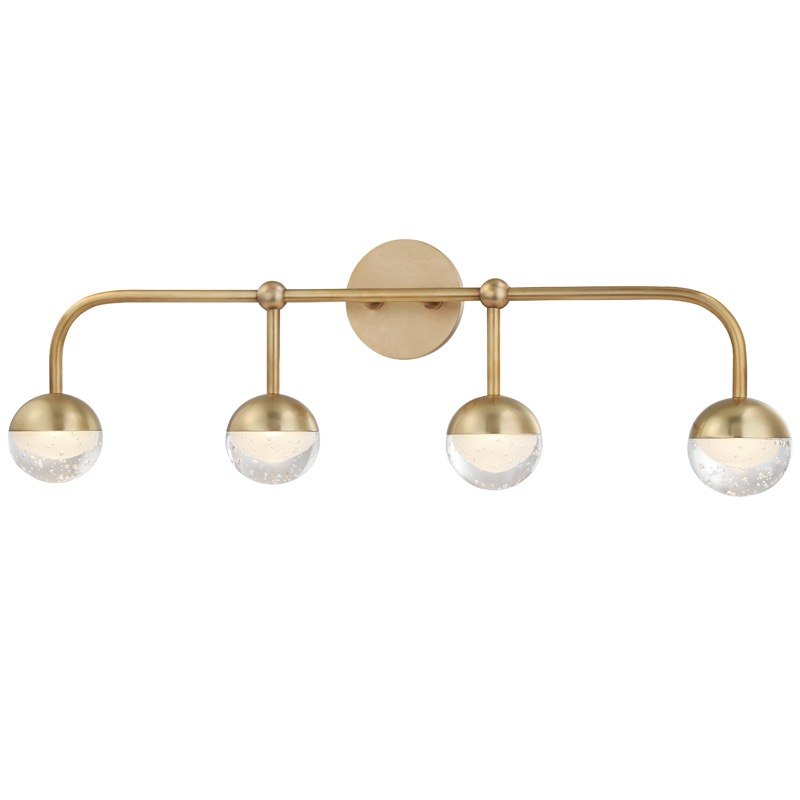 Mizner 4-Light Vanity Fixture | Antique Brass | PLANTATION