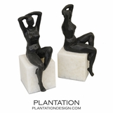 Poser Bronze Bookends | Female