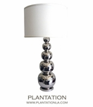 Silver Gourds Lamp   White Shade