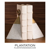 Stirrup Marble & Brass Bookends