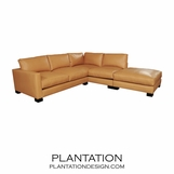 Studio Sectional in Leather w/ Ottoman