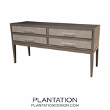 Theodore 4-Drawer Console Table, Painted w/Fabric Fronts