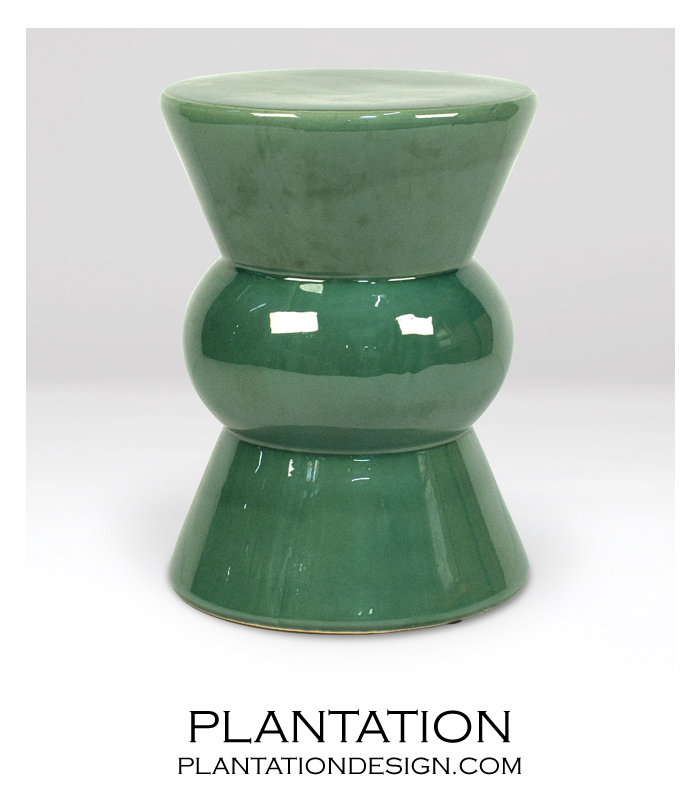 Tropicana Ceramic Stool Green Plantation