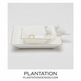 Tweet Ceramic Trays Set | Gold
